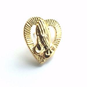 Metal Gold Tone Praying Hands & Heart Pin